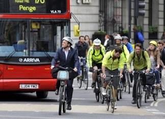 cyclists in central London.